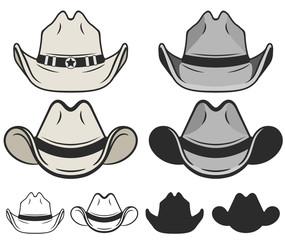 Cowboy hat flat color and line. Old cowboy hat. Vector