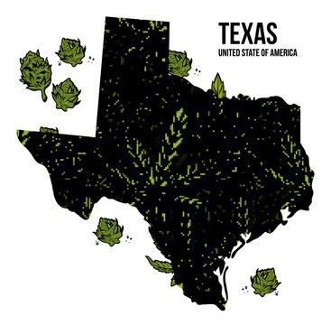 Texas USA cannabis print design
