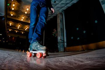 Skating on roller rink