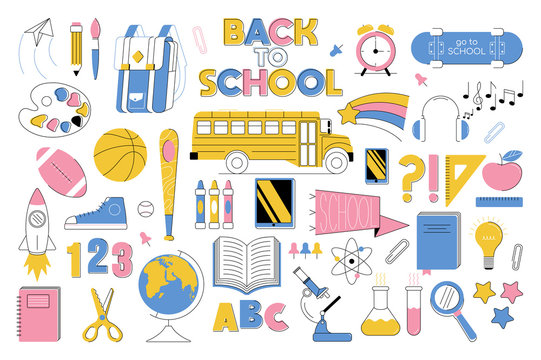Big education set collection icons