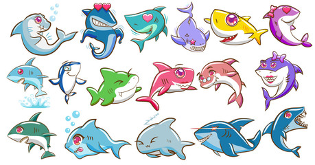 Shark vector set graphic clipart design Wall mural