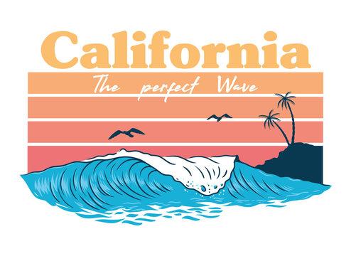 California wave print