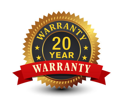 20 Year warranty golden badge with red ribbon isolated on white background.