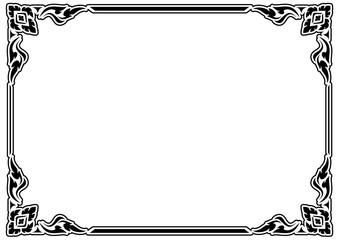 horizontal black and white stencil square Traditional vintage floral design border frame