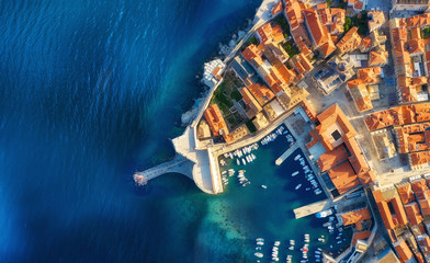 Dudrovnik, Croatia. Aerial view on the old town. Vacation and adventure. Town and sea. Top view...