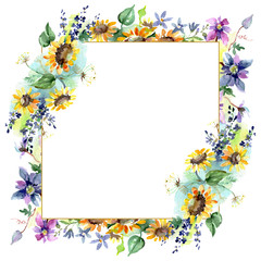 Bouquet with sunflowers botanical flowers. Watercolor background illustration set. Frame border ornament square.