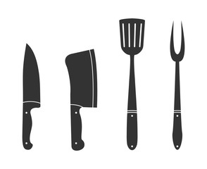 Set of silhouette icons of cookery accessories, white background, flat design.