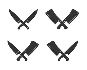 Set of silhouette icons of chef knives, white background, flat design.