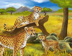 cartoon scene with cheetah resting on tree with family illustration for childrencartoon scene with cheetah resting on tree with family illustration for children