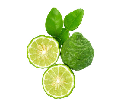 fresh bergamot fruit with leaf isolated on white background, Top view.