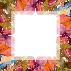 Exotic tropical hawaiian summer. Watercolor background illustration set. Frame border ornament square.