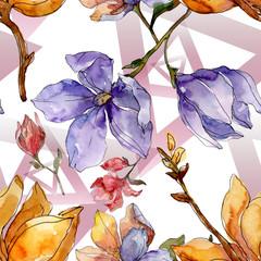Zelfklevend Fotobehang Abstract bloemen Camelia floral botanical flowers. Watercolor background illustration set. Seamless background pattern.
