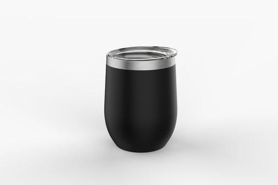 Blank Stainless Steel Stemless Wine Glass Tumbler  for Branding. 3d illustration.