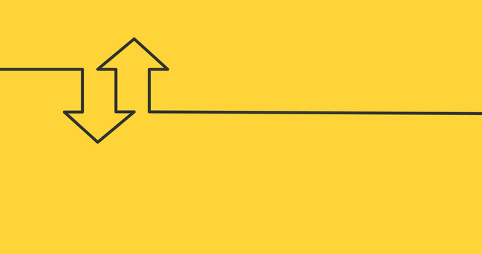 two linear arrows up down icon, two arrows linear sign yellow background. vector illustration.