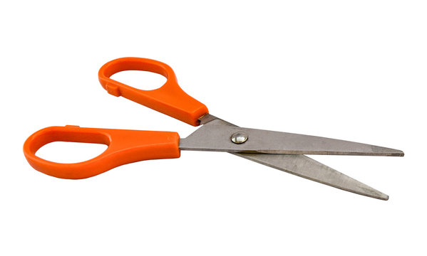 Open pair of tailor scissors with orange handle isolated on white background. Object with clipping path.