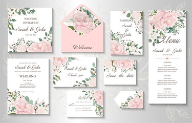 Wedding invitation with flowers Peony and leaves, watercolor, isolated on white. Vector Watercolour. Wall mural