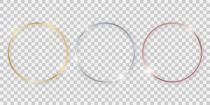 Round shiny frames with glowing effects