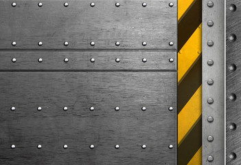Abstract metal frame with rivets and caution sign