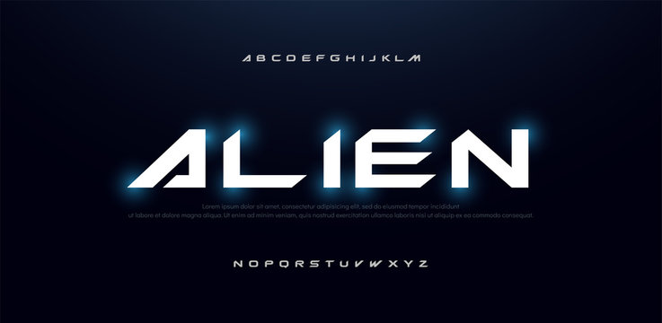 Technology future modern alphabet fonts. Science typography bold font uppercase. vector illustration