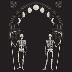 Grim Reapers with the scythes in front of the gothic arch with moon vector illustration. Hand drawn gothic style placard, poster or print design.