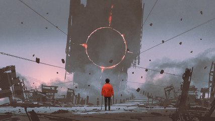 a boy looking at the bridge that reaches to the abandoned building with mysterious light, digital painting, illustration painting