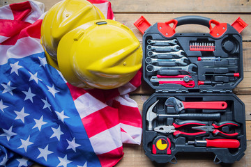 Toolbox and two helmets with American flag