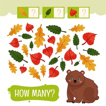Counting educational children game, math kids activity sheet. How many objects task. Forest animals.