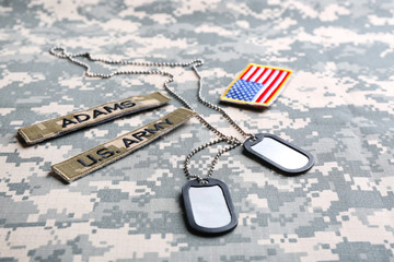 Military ID tags and US army patches on camouflage background