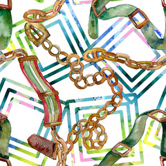 Chain and leather belt sketch fashion glamour illustration in a watercolor style. Seamless background pattern.
