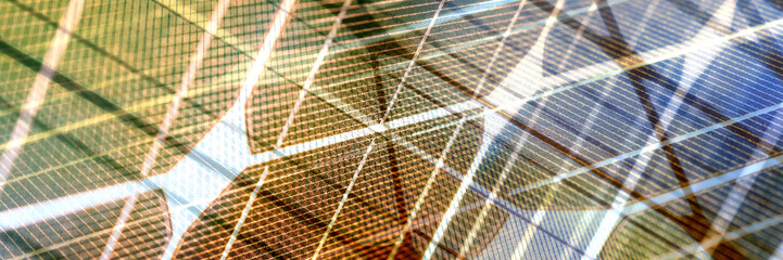 Abstract glass panoramic background. Solar energy spectrum with grid lines