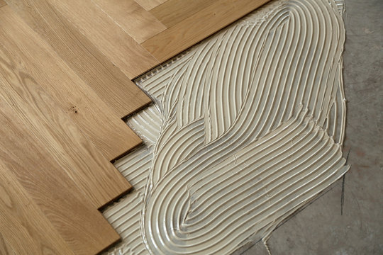 Construction in a renovated room installation of parquet