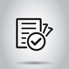Compliance document icon in transparent style. Approved process vector illustration on isolated background. Checkmark business concept.