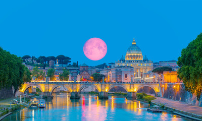 """St Peter Cathedral with full moon - Rome, Italy """"Elements of this image furnished by NASA"""