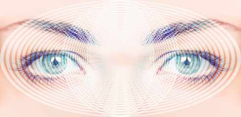 Abstract background of hypnosis Spiral in eye