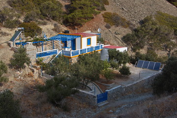 Residential house at the road from Olympos to Diafani on Karpathos in Greece o