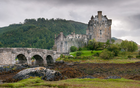 The famous Eilean Donan Castle in the lake of Loch Alsh  at the Highlands of Scotland.