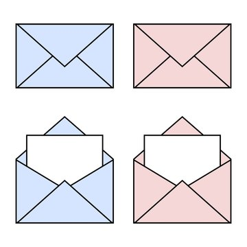 Blue and pink mail linear icons. Open and closed envelopes. E-mail symbol for your design