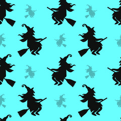 Abstract seamless halloween pattern for girls or boys. Creative vector background with cat, whitch, halloween. Funny pattern for textile and fabric. Fashion halloween style. Colorful bright picture