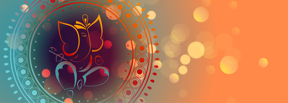 beautiful lord ganesha design colorful banner template