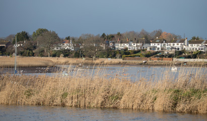 View on Topsham from the right bank of the river and canal. Neighborhood Exeter. Devon. UK