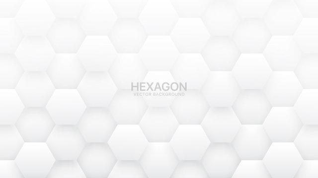 3D Vector Hexagon Tech Structure Abstract White Background. Science Technology Hexagonal Blocks Pattern Conceptual Light Wallpaper. Clear Blank Subtle Textured Banner Backdrop