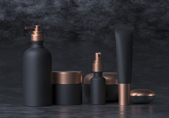 Cosmetic mock up set. Cosmetic packaging bottles jar and tube. Make up blank face cream tube, spray. Set of trendy gold realistic beauty products on black background. Skin or hair care. 3d rendering