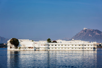 UDAIPUR, INDIA - NOVEMBER 23, 2012: Lake Palace (Jag Niwas) in Lake Pichola, Udaipur, Rajasthan. Lake Palace is a famous luxury hotel and has been voted as the most romantic hotel in India and in the