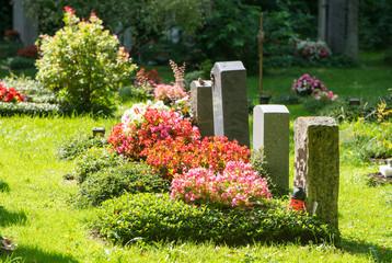 Friedhof - Gräber an Allerheiligen im Sonnenlicht