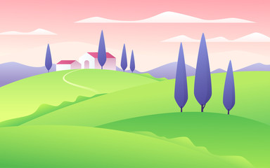 Vector illustration of a summer flat style rural landscape