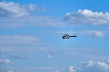 MUNICH, GERMANY - JULY 08, 2018: German Police helicopter in the sky