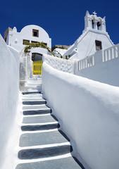 Traditional greek street in Pyrgos village, Santorini, Greece.