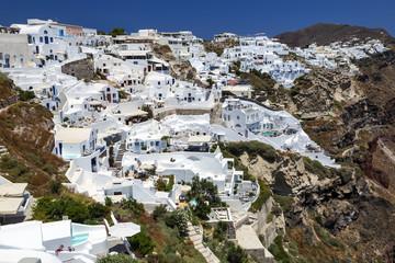 Panoramic view from Oia village on Santorini island, Greece.
