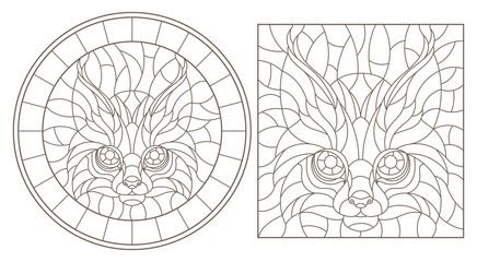 Set contour illustrations of stained glass with a lynx head, round and square image, dark contours on white background