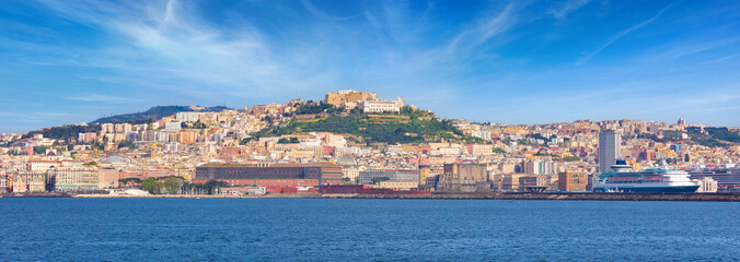 Panoramic view from sea of Naples coastline, Italy.
